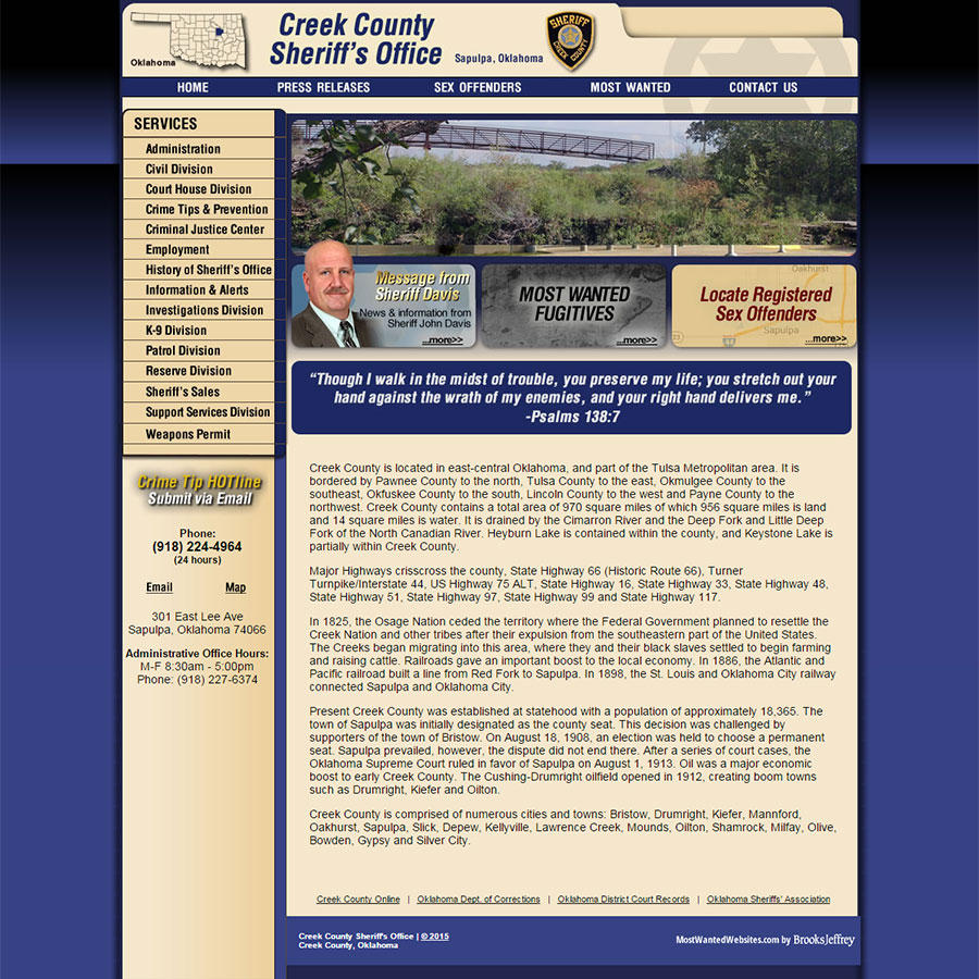 Creek County Sheriff's Office, Oklahoma Website Screenshot