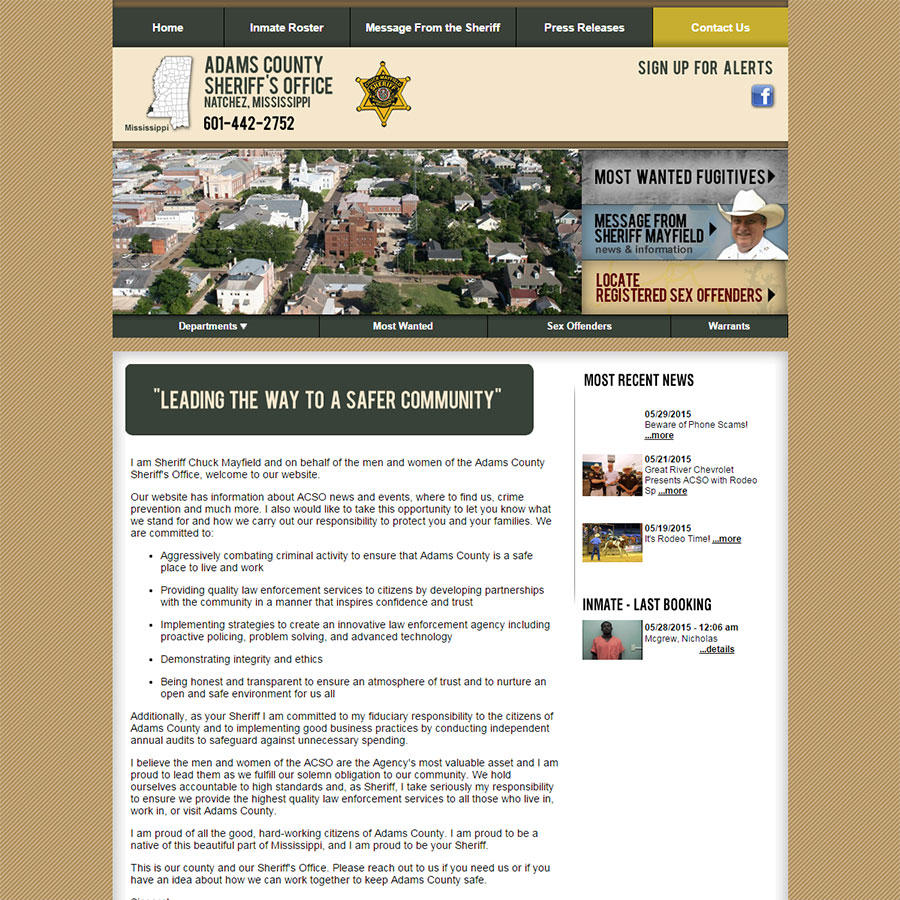 Adams County Sheriff's Office, Mississippi Website Screenshot