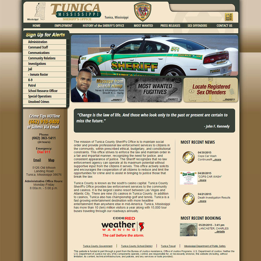 Tunica County Sheriff's Office, Mississippi Website Screenshot