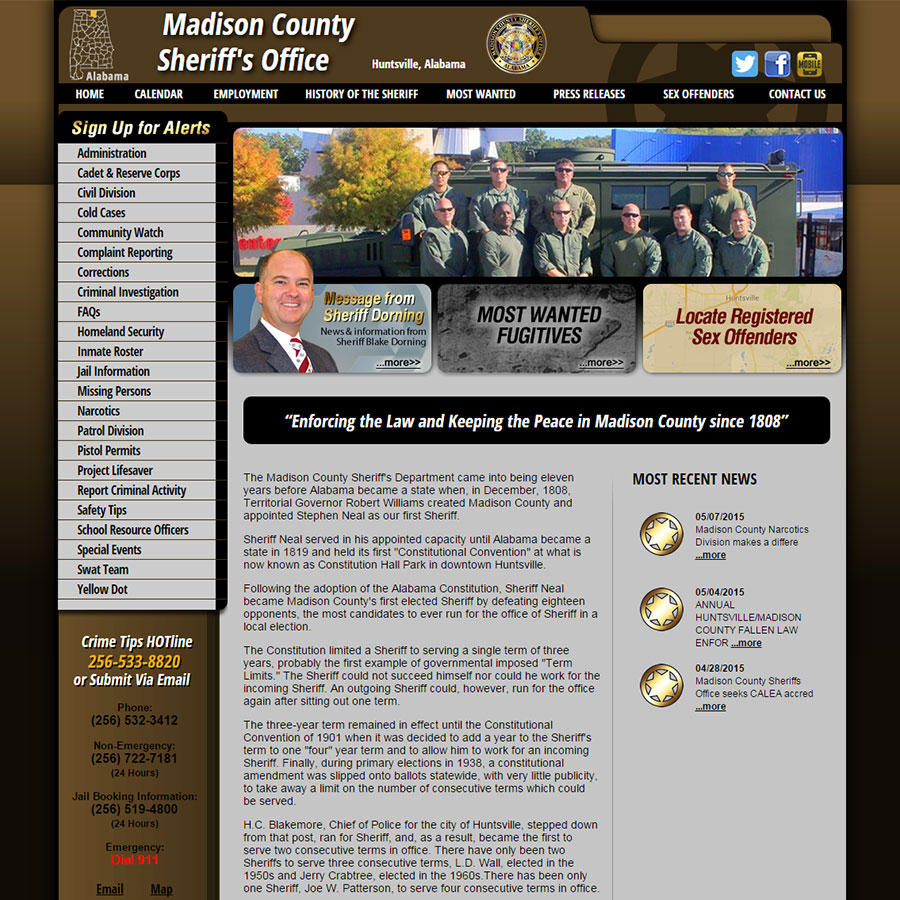Madison County Sheriff's Office, Alabama Website Screenshot