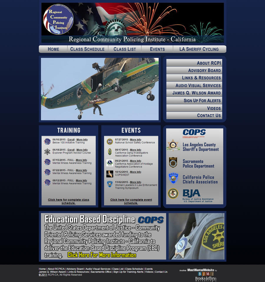Regional Community Policing Institute, California Website Screenshot