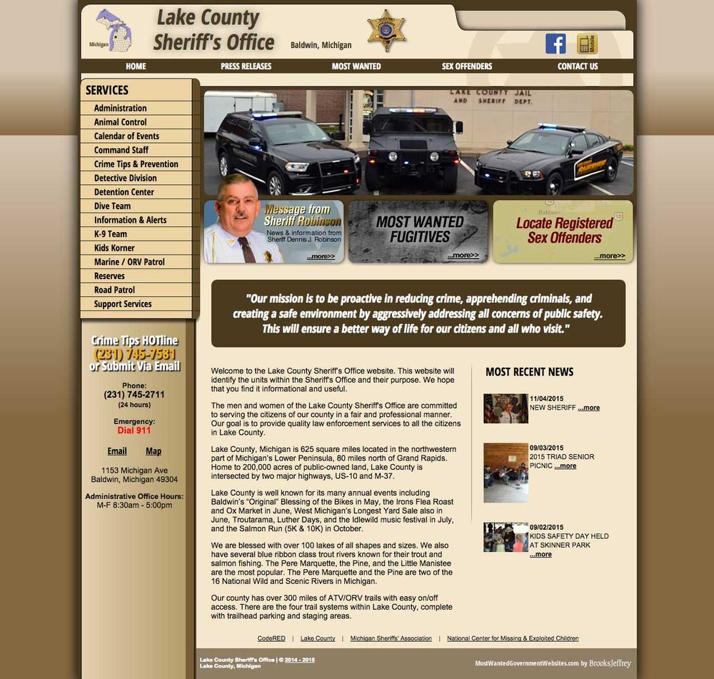 Lake County Sheriff's Office, Michigan Website Screenshot