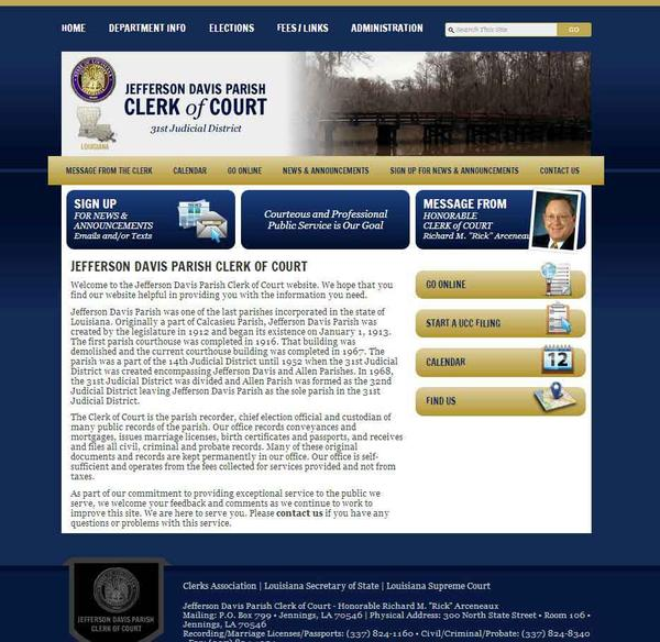 Jefferson Davis Parish, Clerk of Court, Louisiana Website Screenshot