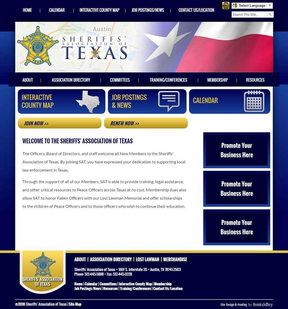 Sheriffs Association of Texas static website screenshot