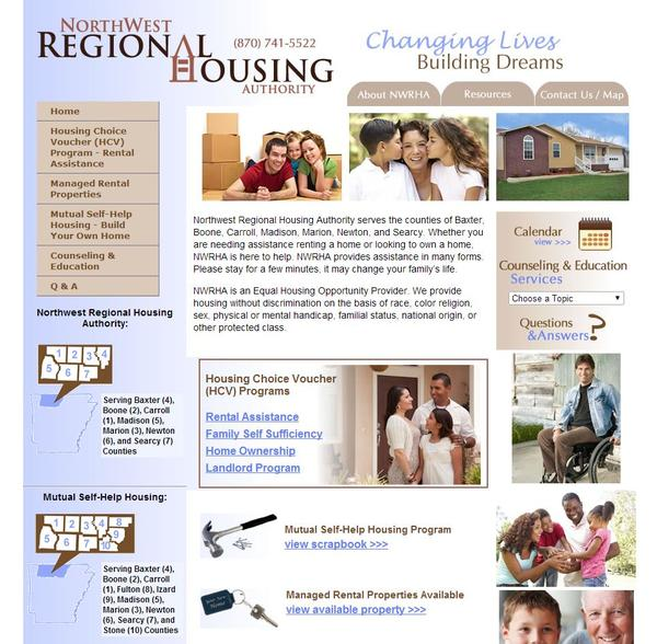 Northwest Regional Housing Authority, Arkansas Website Screenshot