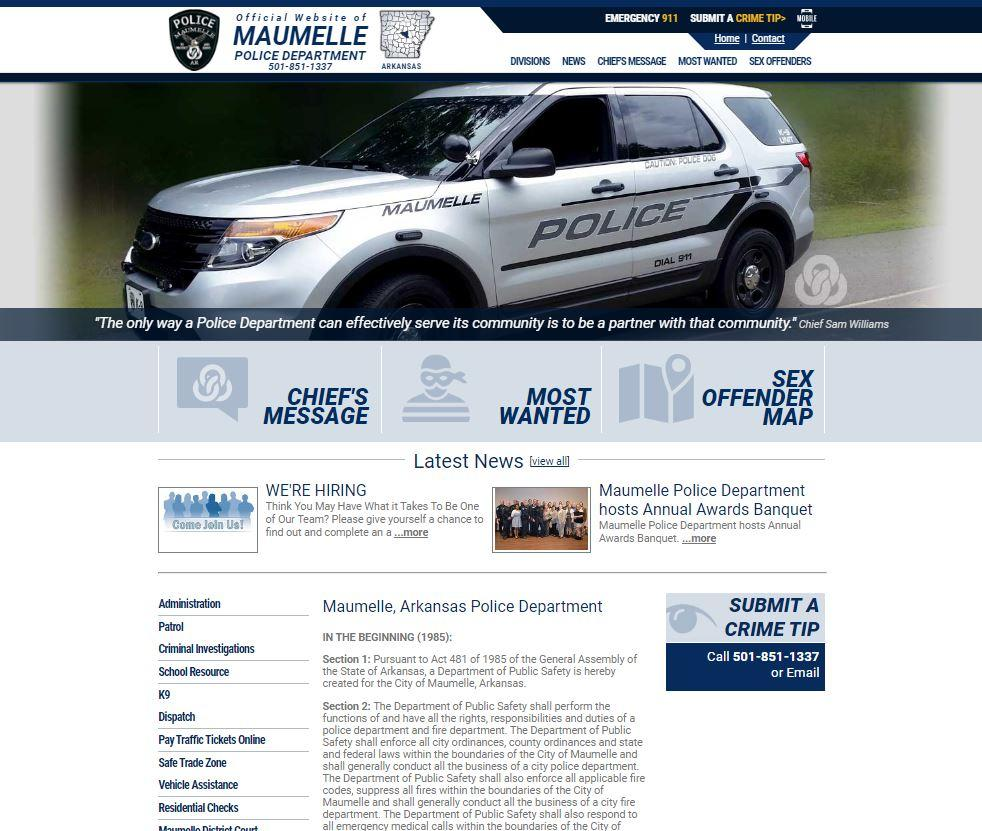 Maumelle AR Police Dept website