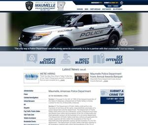 Maumelle Arkansas Police Department Website Screenshot