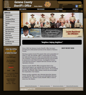 Geneva County Alabama Sheriff Website Screenshot