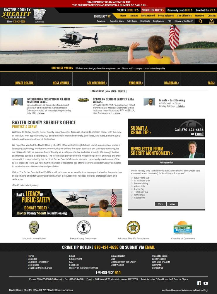 Baxter County Sheriff home page