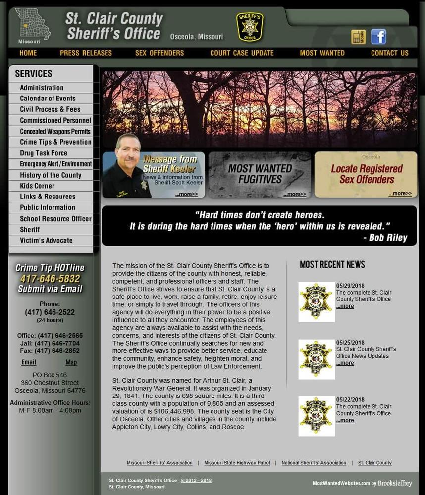 St. Clair County Sheriff's Office, Missouri Website Screenshot