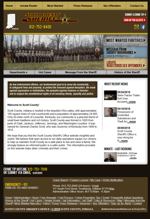 Scott County Sheriff's Office, Indiana Website Screenshot