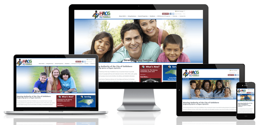 Goldsboro Housing Authority, North Carolina website displayed on four different devices.