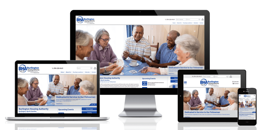 Burlington Housing Authority, North Carolina website displayed on four different devices.