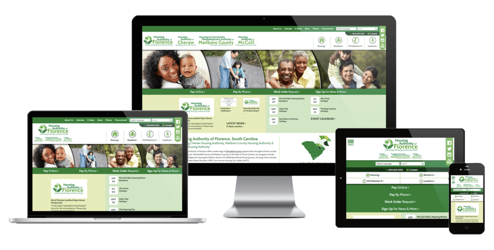 Florence Housing Authority, South Carolina website displayed on four different devices.