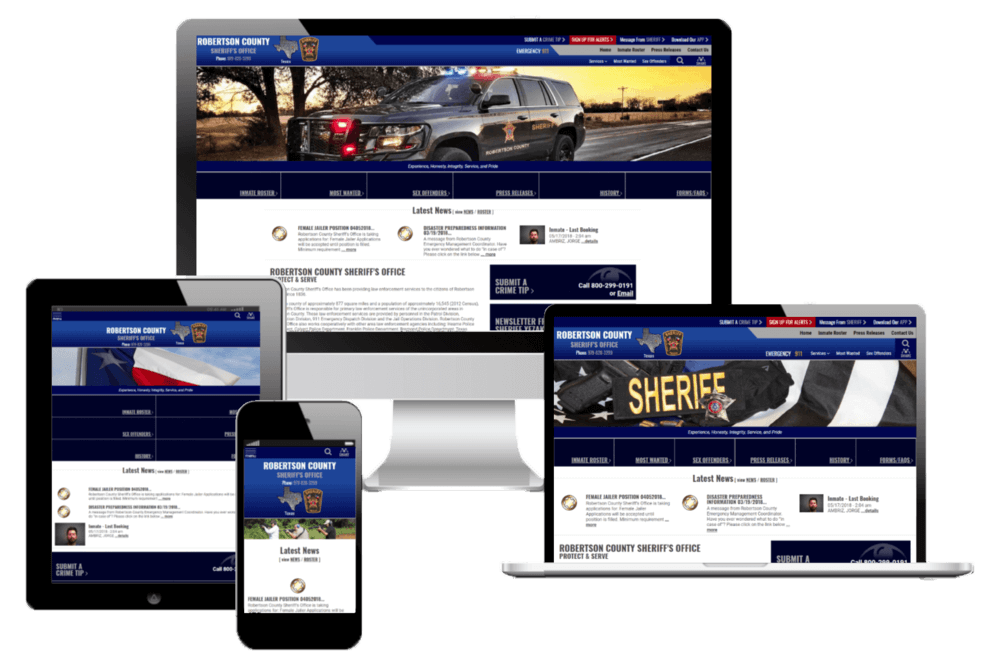 Robertson County Sheriff's Office, Texas Website Screenshot