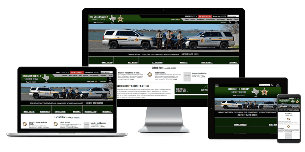 Tom Green County Sheriff's Office, Texas Website Screenshot