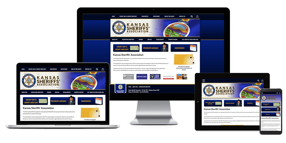 Kansas Sheriffs' Association website displayed on four different devices.