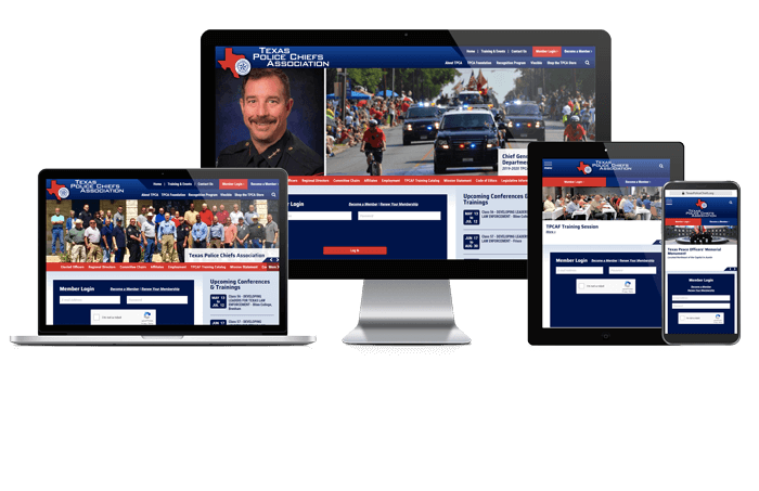 Showcase of Texas Police Chiefs Association website on different screen sizes.