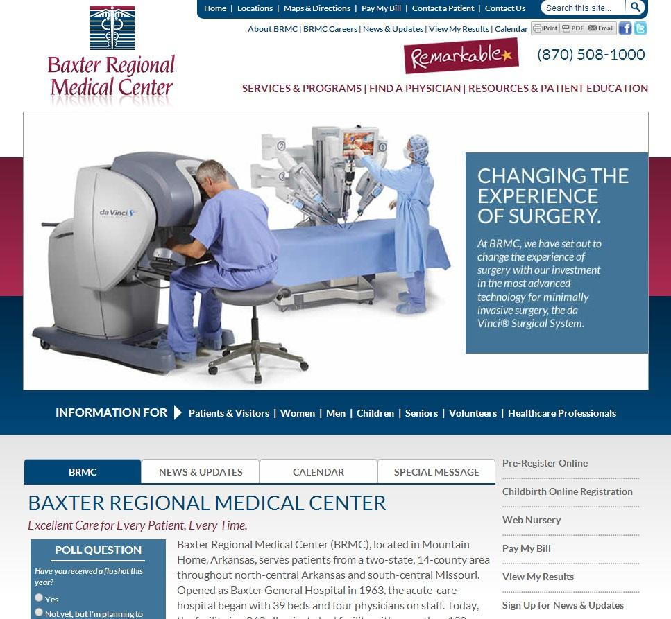 Baxter Regional Medical Center Website Screenshot