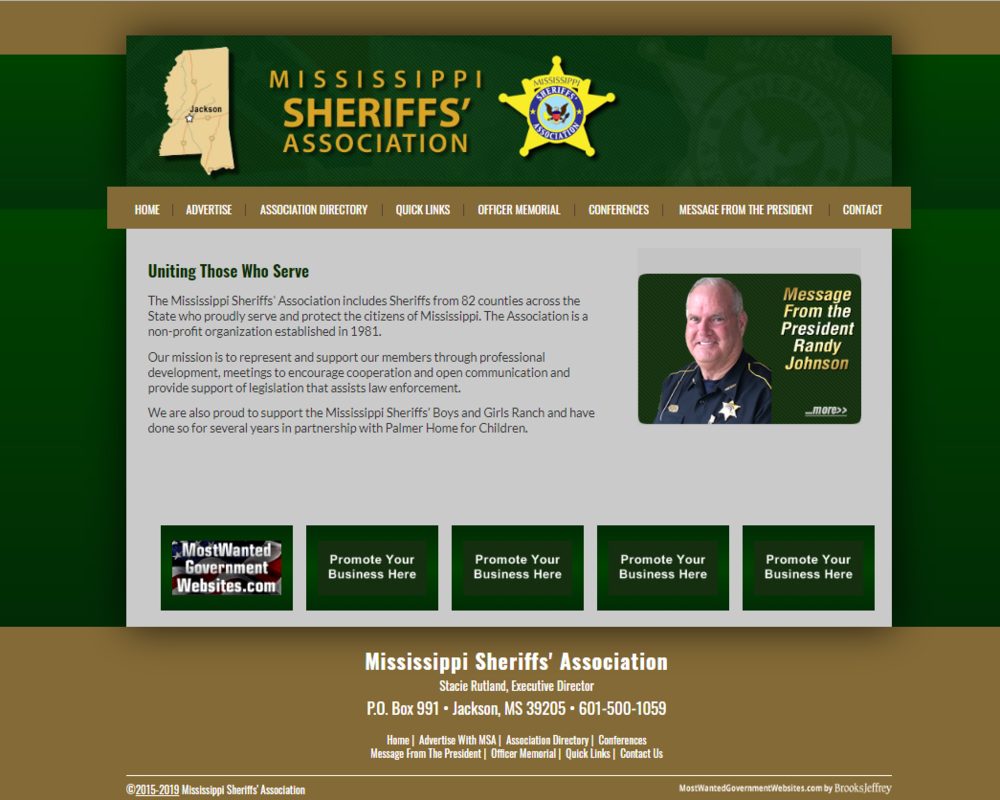 Mississippi Sheriffs' Association Website Screenshot