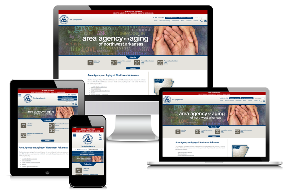 Area Agency on Aging of Northwest Arkansas website displayed on four different devices.