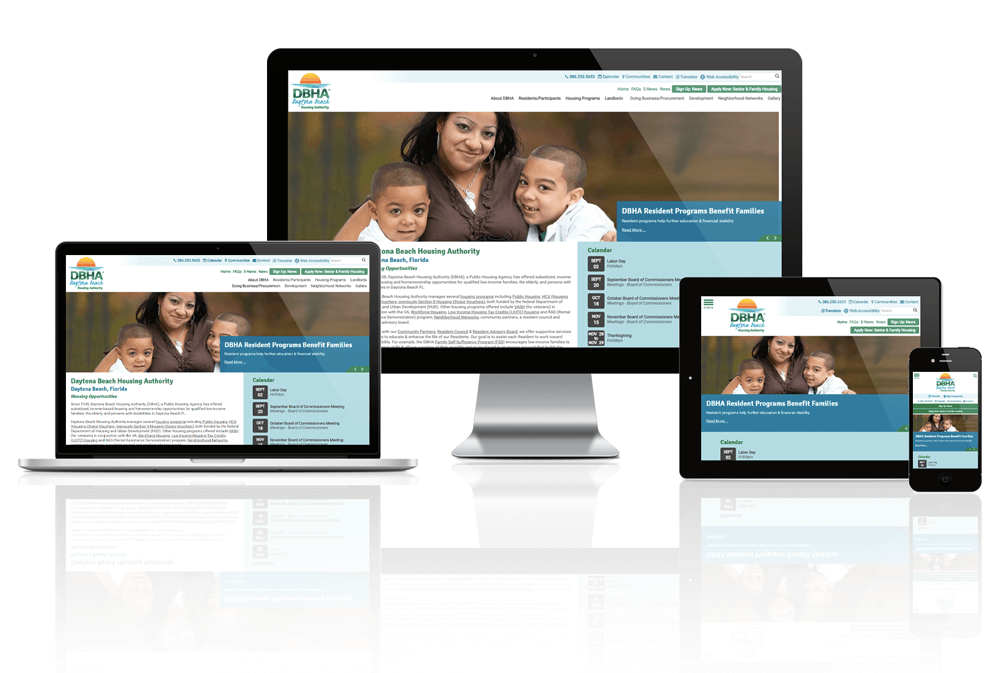 Daytona Beach Housing Authority website displayed on four different devices.