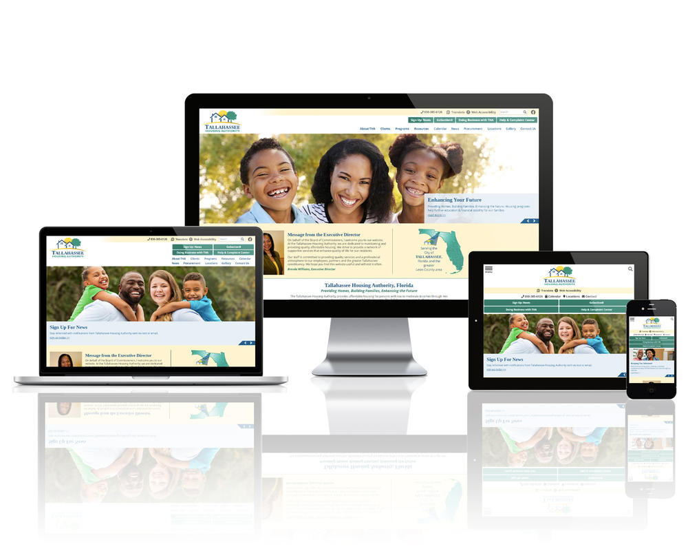 Tallahassee Housing Authority, Florida website displayed on four different devices.