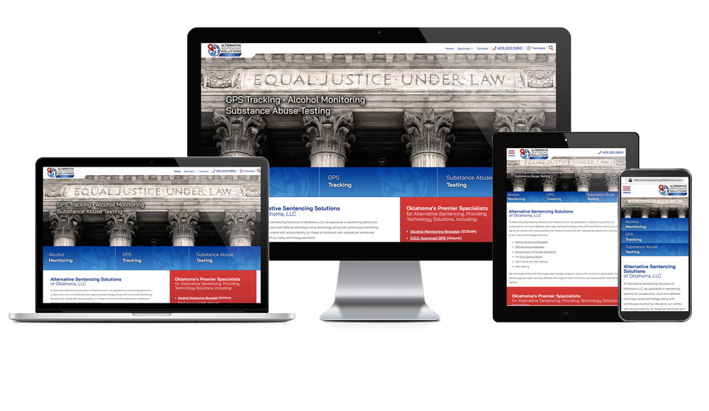 Showcase of Alternative Sentencing Solutions of Oklahoma's website in desktop, tablet, and mobile view.