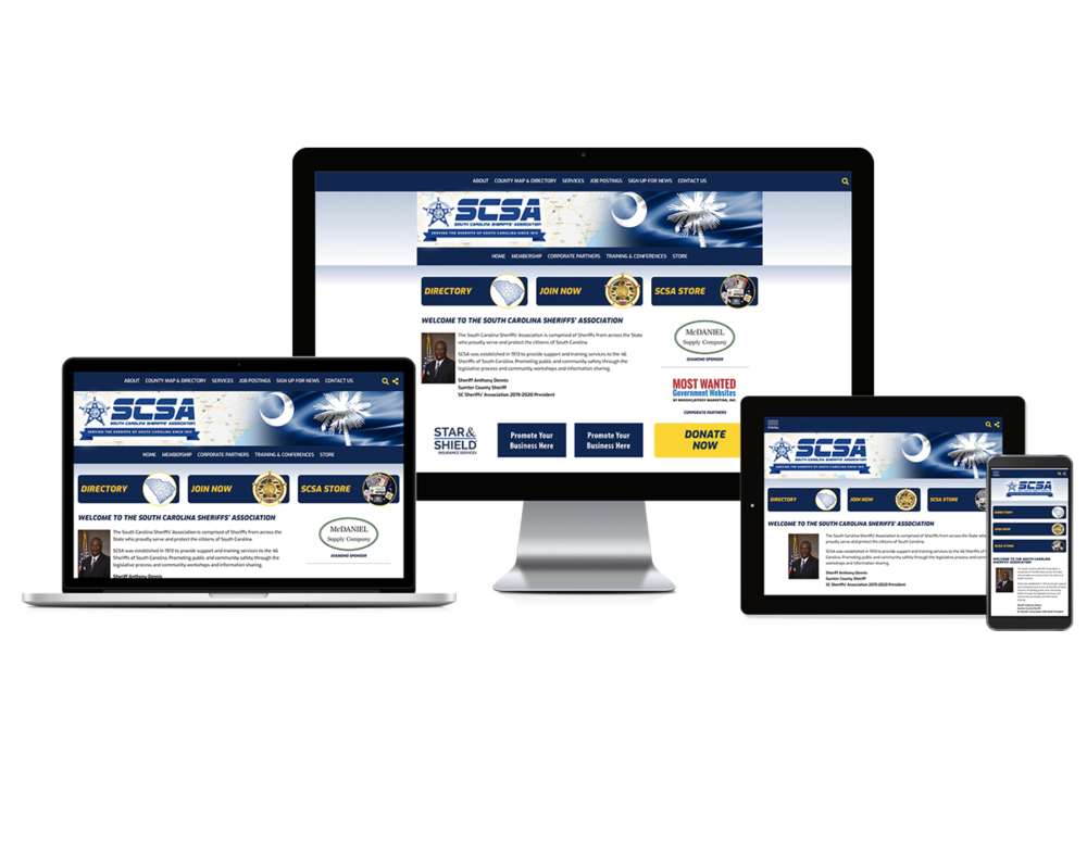 South Carolina Sheriffs Association screen mockups
