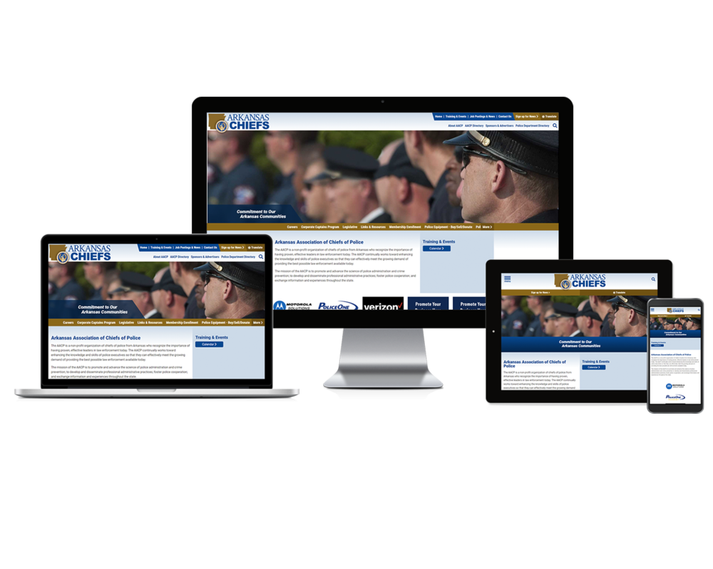 Arkansas Association of Chiefs of Police screen mockups