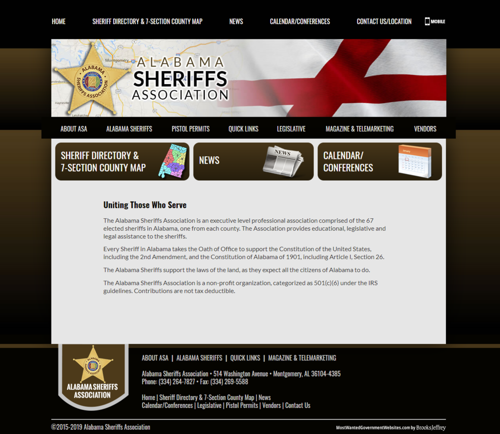 Alabama Sheriffs Association static website screenshot