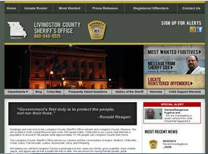 Livingston County Sheriff's Office, Missouri Website Screenshot