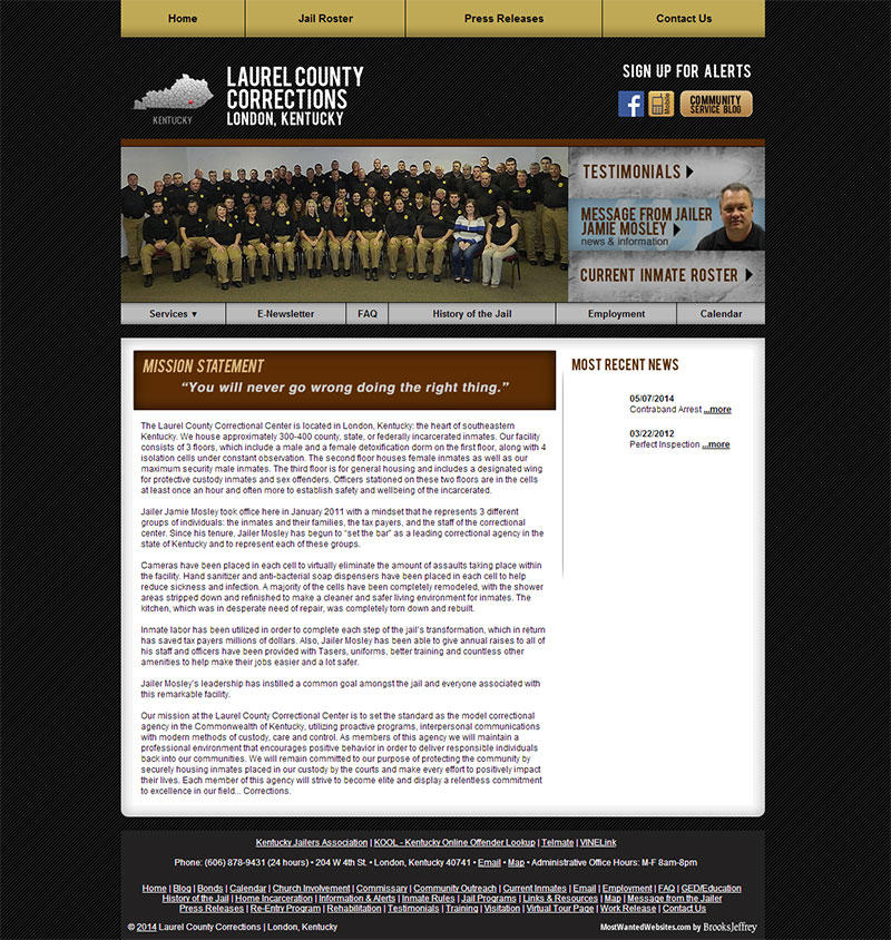 Laurel County Corrections, Kentucky Website Screenshot