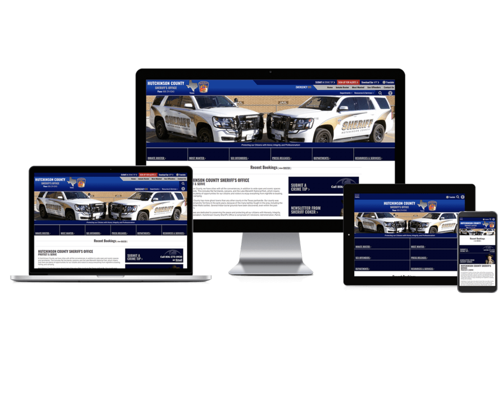 Hutchinson County Sheriff Office website screen mockups
