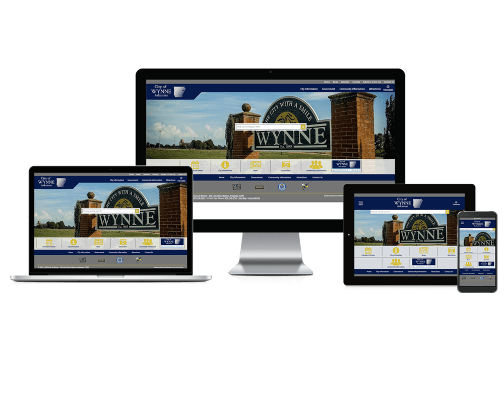 The City of Wynne Arkansas Government Website displayed at different responsive views.