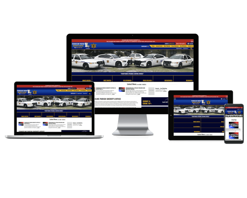 Evangeline Parish Sheriff Office Website Screen Mockups