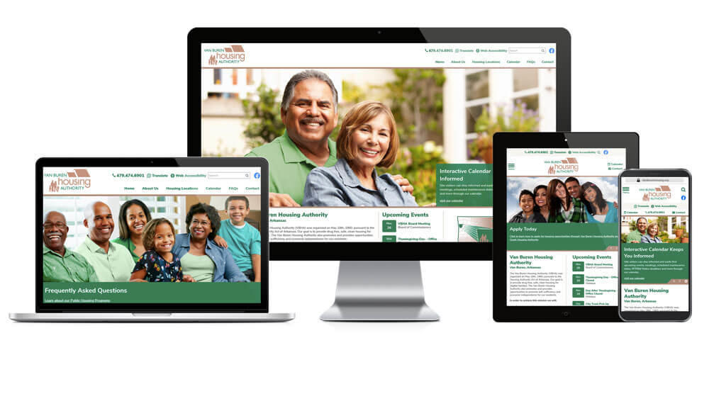 Van Buren Housing Authority Website screen mockups