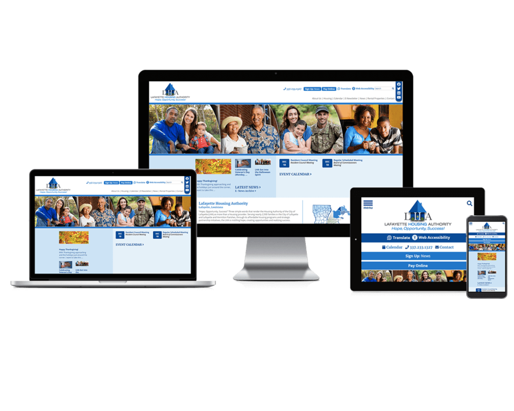 Lafayette Housing Authority, Louisiana website displayed on four different devices.
