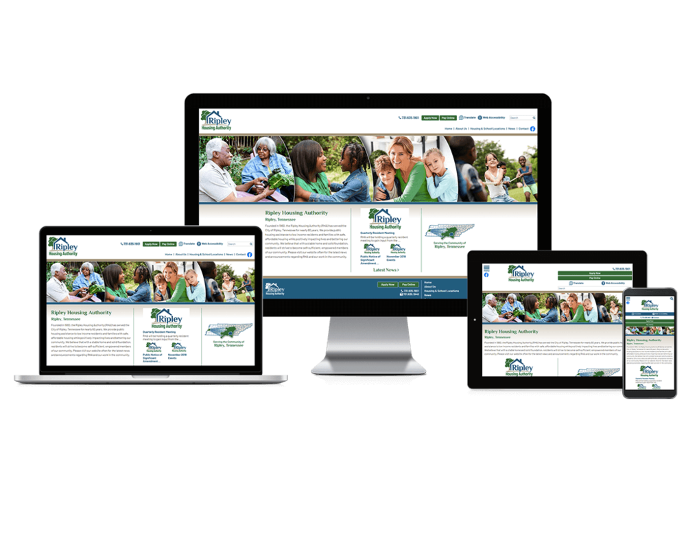 Ripley Housing Authority website screen mockups