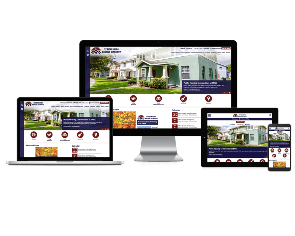 St. Petersburg Housing Authority website screen mockups