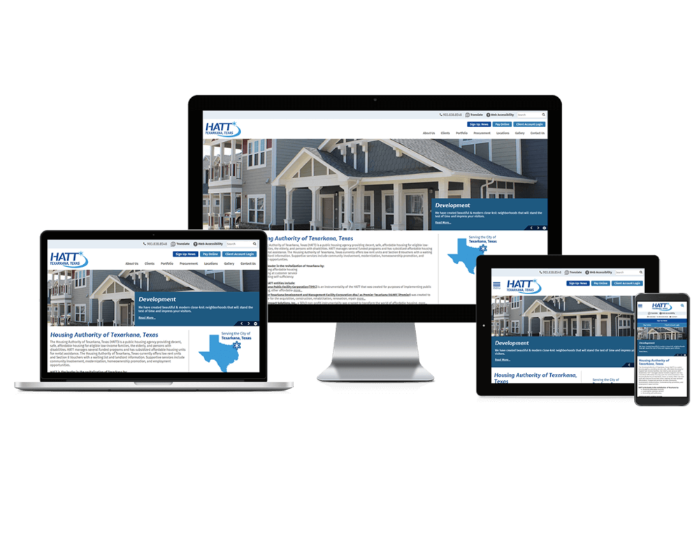 Texarkana Housing Authority, Texas responsive website being shown on four different devices.