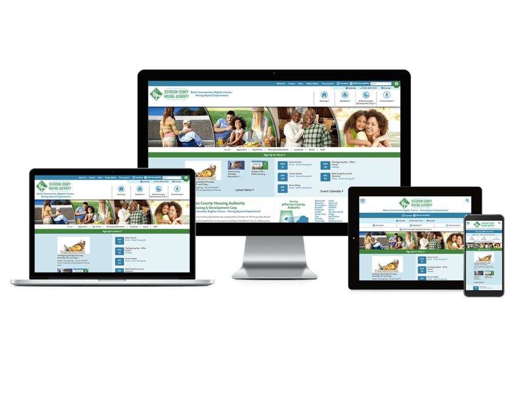 Jefferson County Housing Authority, Alabama website displayed on four different devices.