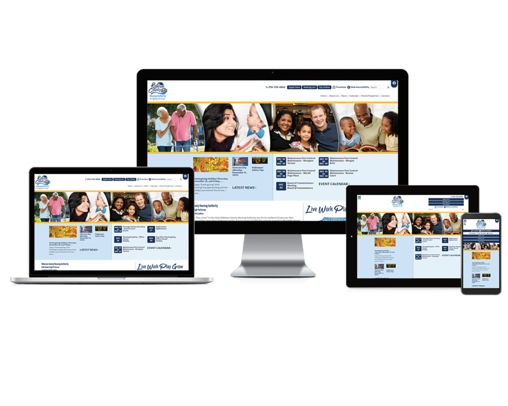Robeson County Housing Authority website screen mockups