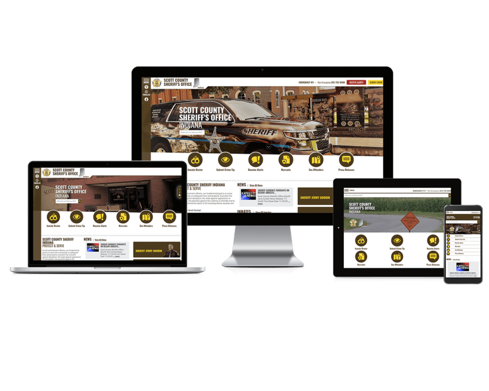 Showcase of Scott County Sheriff, Indiana website on different screen sizes.