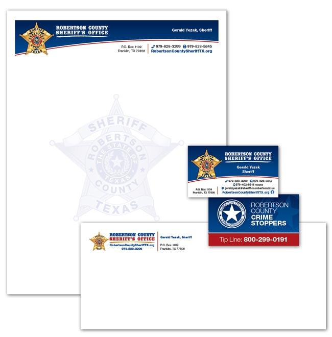 Business Cards and Stationery example for Robertson County TX Sheriff's Office