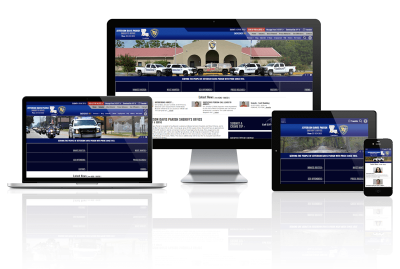 Responsive Screen Mockup of Jefferson Davis Parish Website
