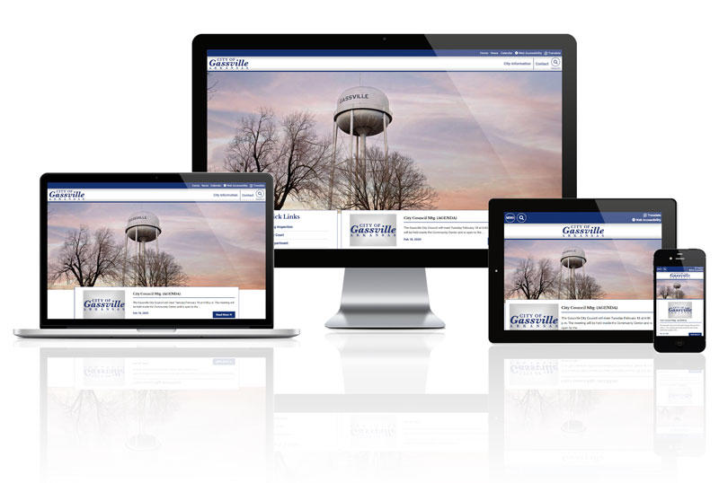 Responsive screens mockup for City of Gassville Website