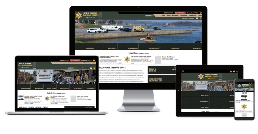 Marshall County Sheriffs Office Alabama website screen shots