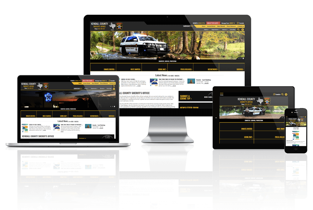 Responsive screen mock up of Kendall County Sheriff's Office Website