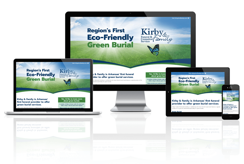 Kirby & Family Funeral & Cremation Services Green Burials Responsive Website Screen Mockup